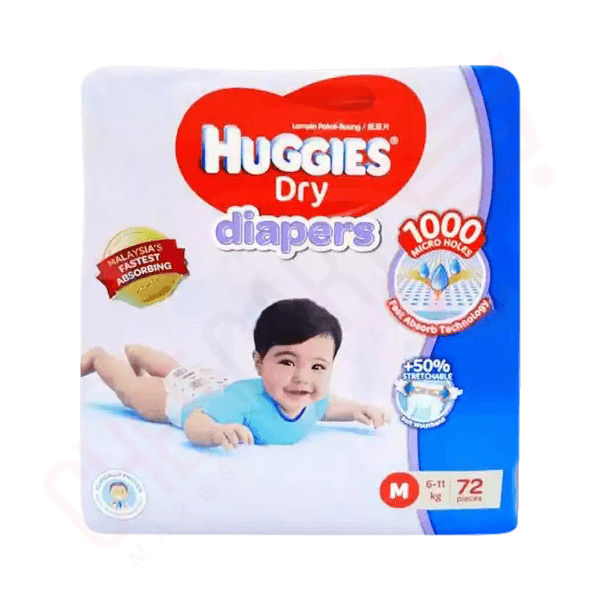 Huggies Dry Baby Diaper Belt M 6-11 kg 72 pcs | belt diaper price bd