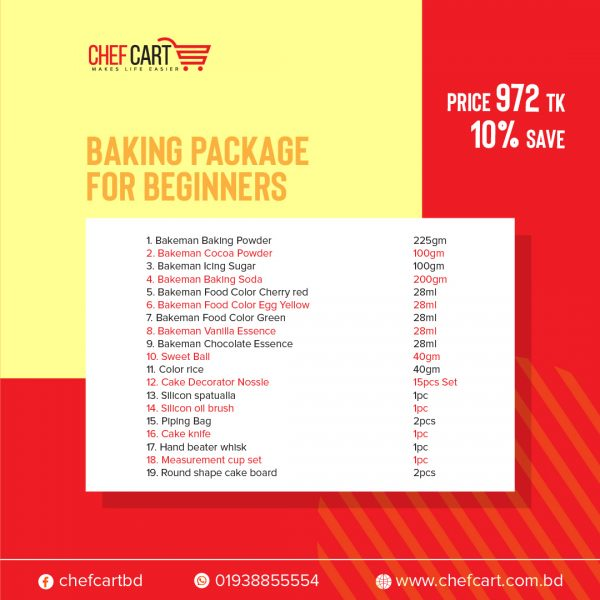 Chef Cart Baking product Package offer for Beginner