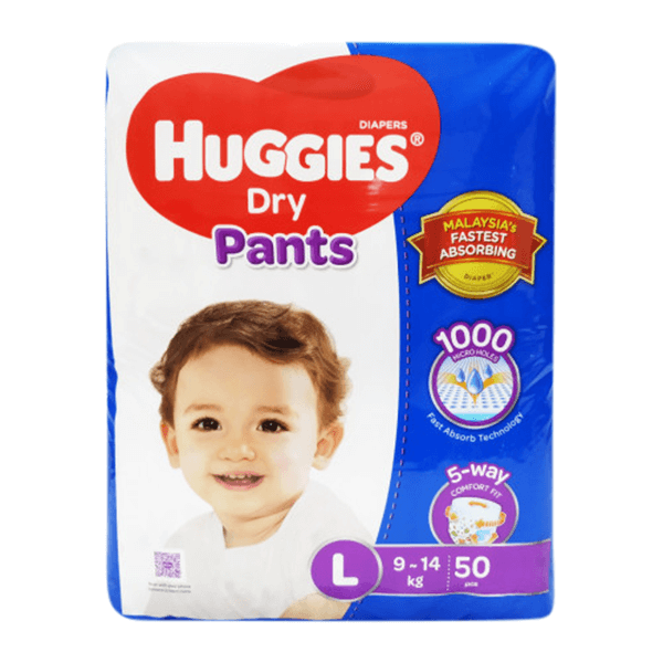 Huggies Dry Large Pant Diaper 9-14Kg 50 pcs | huggies diaper xl price bd