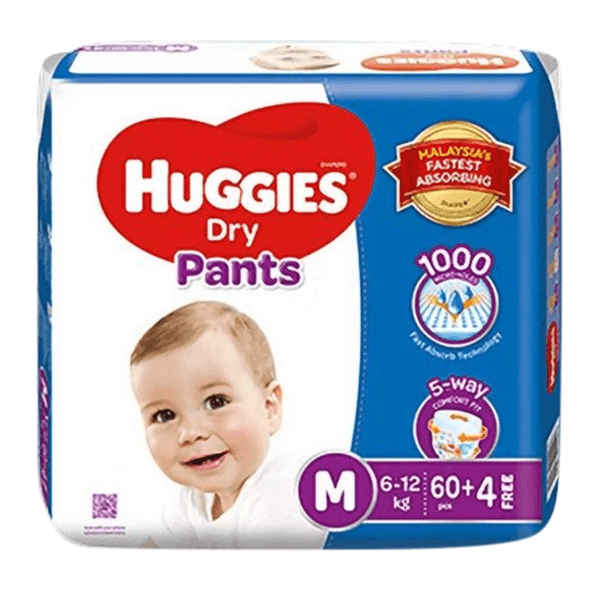 Huggies Dry Medium Pant Diaper 6-12Kg 64 Pcs | huggies diaper price bd