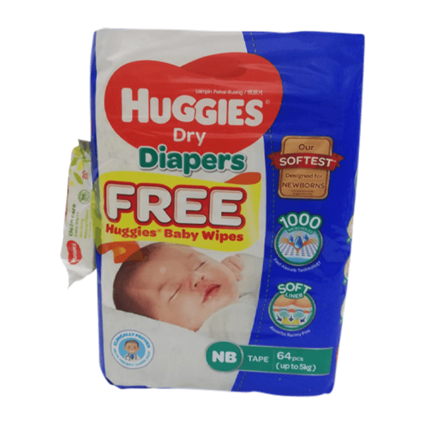 Huggies Newborn Belt Diaper 0-5 Kg 64 Pcs | huggies diaper price in bd